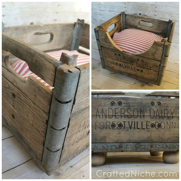 Milk crate converted into dog bed