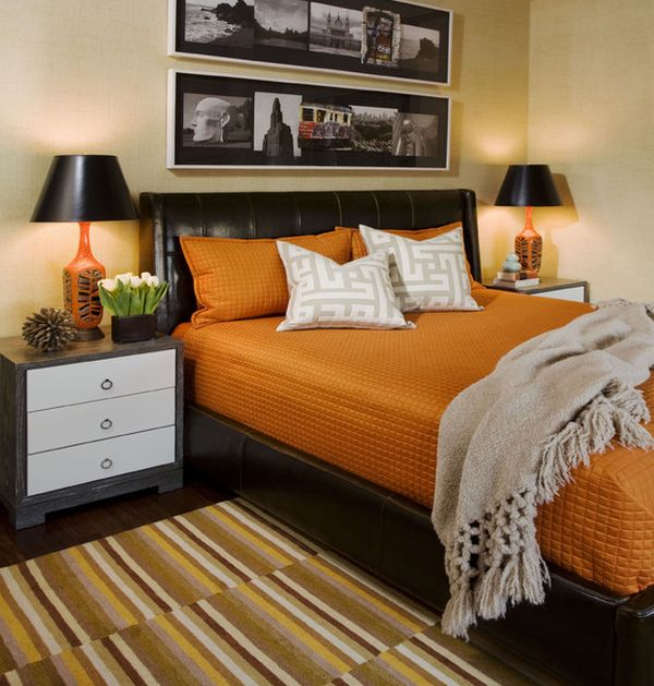 Playful colors like orange seem to work beautifully along with the hints of black