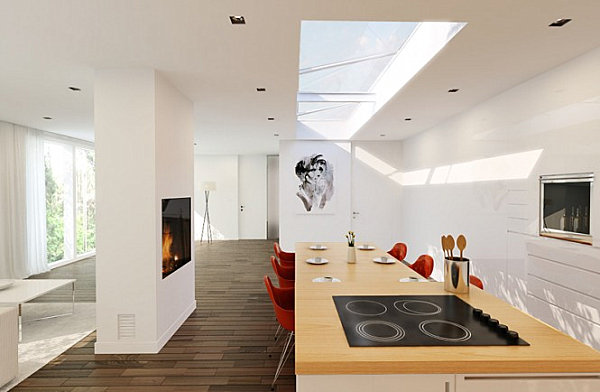 Red chairs in a white modern kitchen