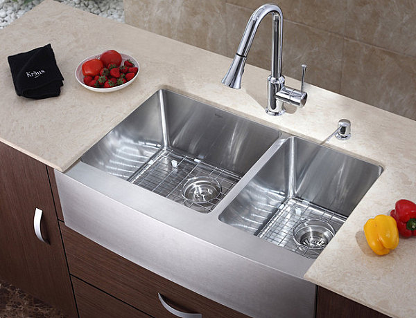 Sink with a chrome kitchen faucet