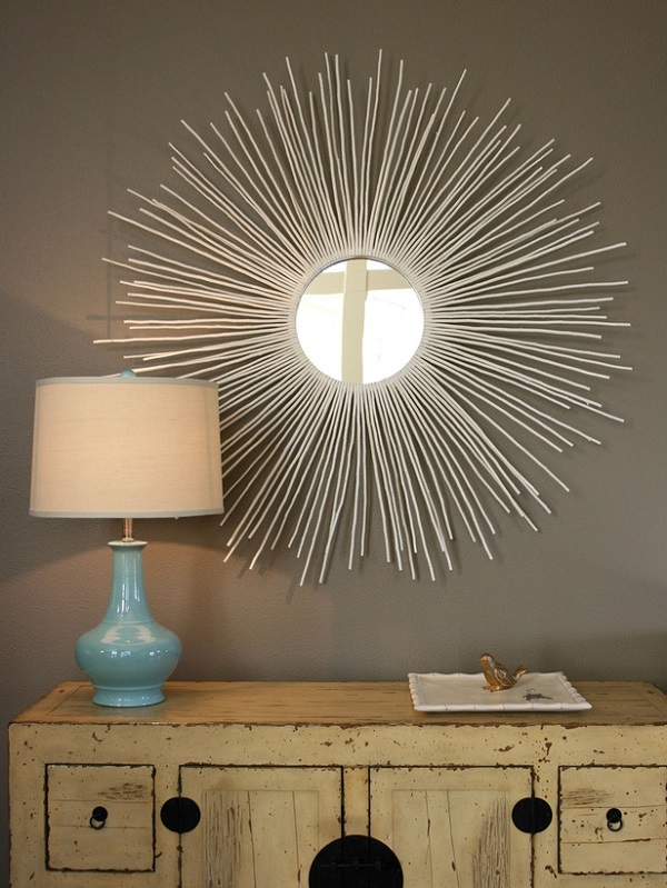 Circular mirror frame made from twigs