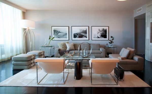 Grey contemporary interiors combined with black and white prints stylishly