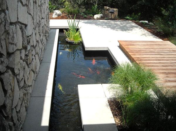 Modern linear garden pond