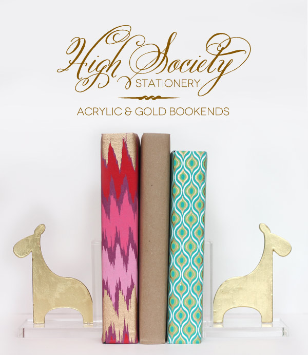 Acrylic and gold bookends