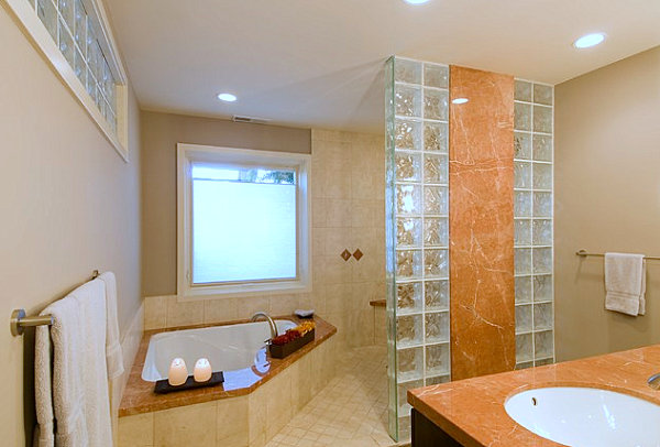 Bathroom with marble and glass block details