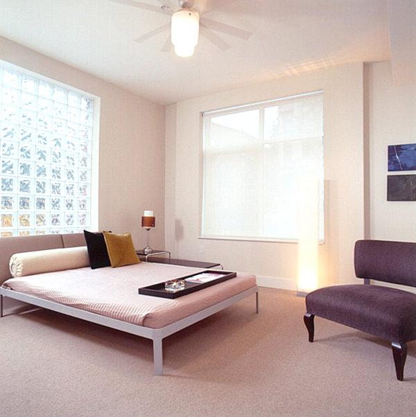Bedroom with glass block