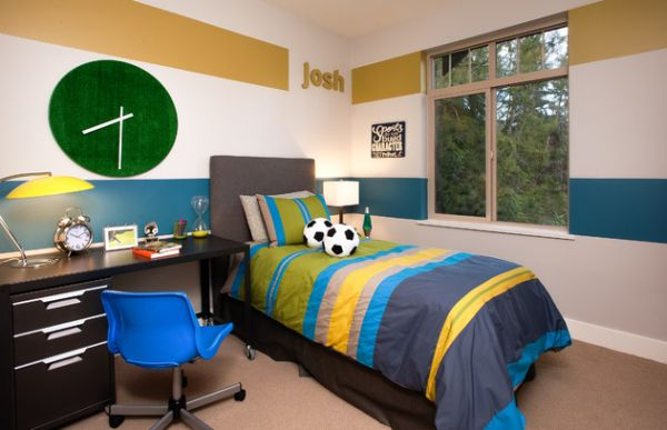 Boys' bedroom sports a colorful and unique clock