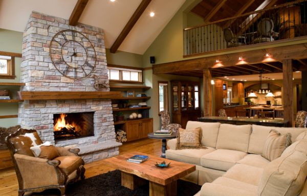 Clock above the fireplace offers a hint of rustic charm to modern interiors