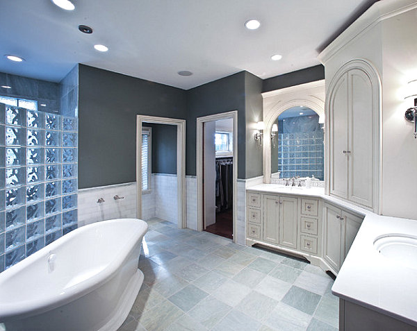 Eclectic bathroom with glass block detail
