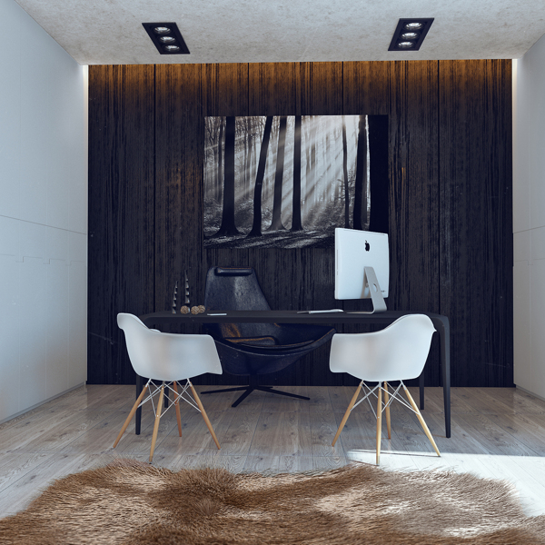 Ergonomic home office carries through the minimalist theme