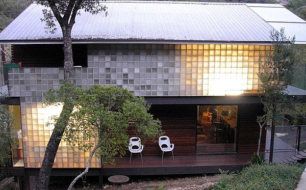 Exterior glass blocks on a contemporary home
