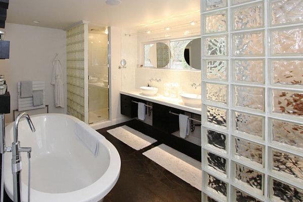 Glass block adds privacy in a modern bathroom