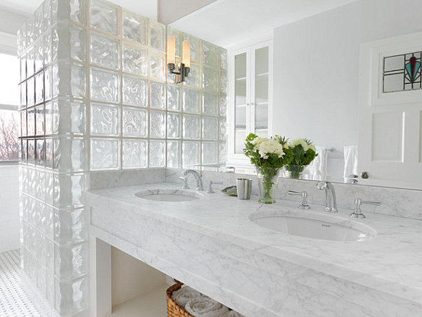 Glass block and marble bathroom
