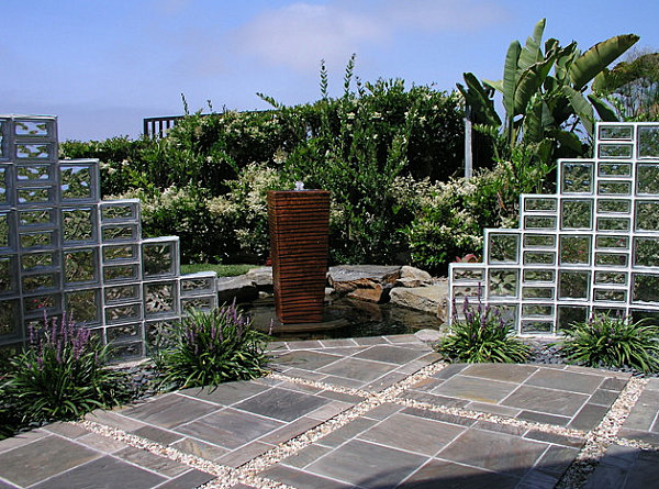 Glass block in an outdoor space