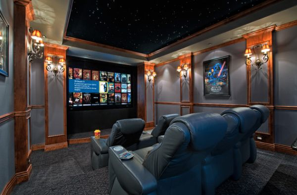Home theaters are a popular space to add the night sky effect