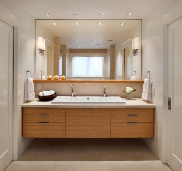 Illuminate the vanity area with recessed lighting