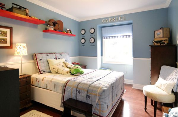 Kid's bedroom with beautifully arranged wall clocks