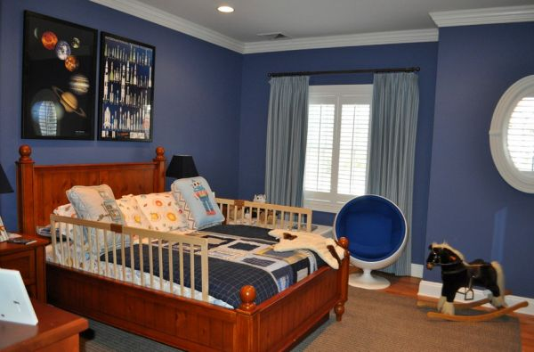 Kids' room with space shuttles, rockets, planets and planes!