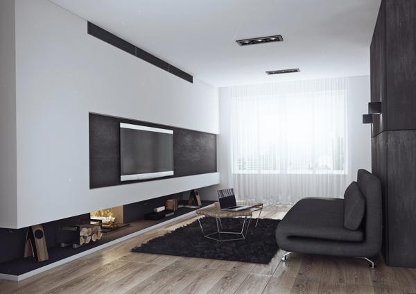 Living room of the bachelor pad