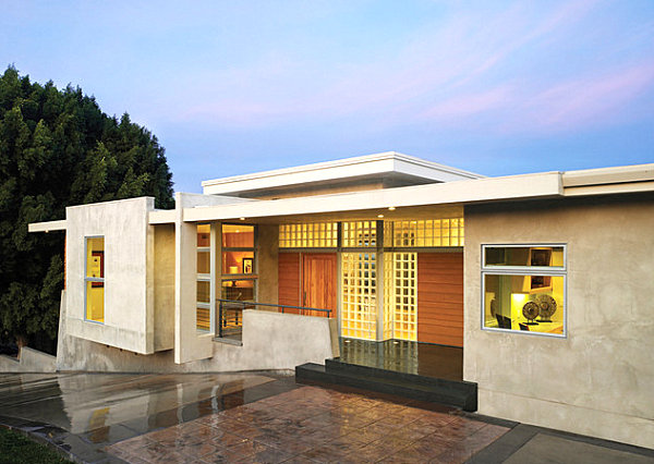 Modern home with glass block windows