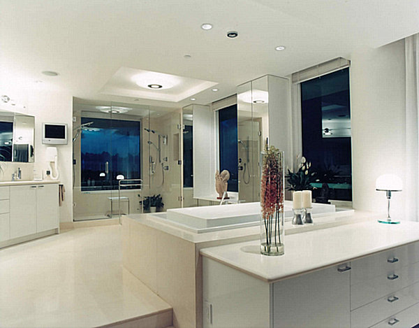 Modern luxury bathroom with colorful details