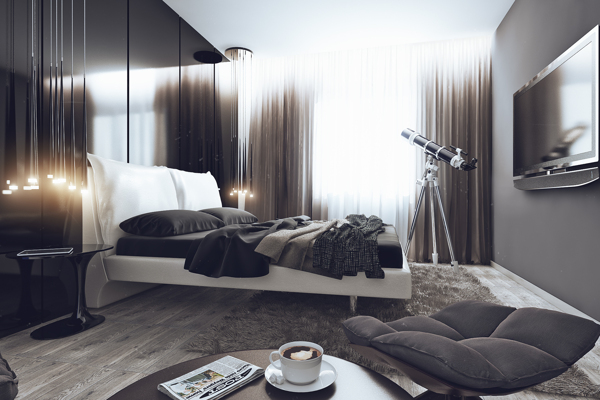 Plush bedroom in the stylish bachelor pad