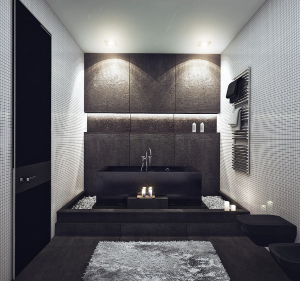 Recessed lighting works beautifully in a minimalist setting