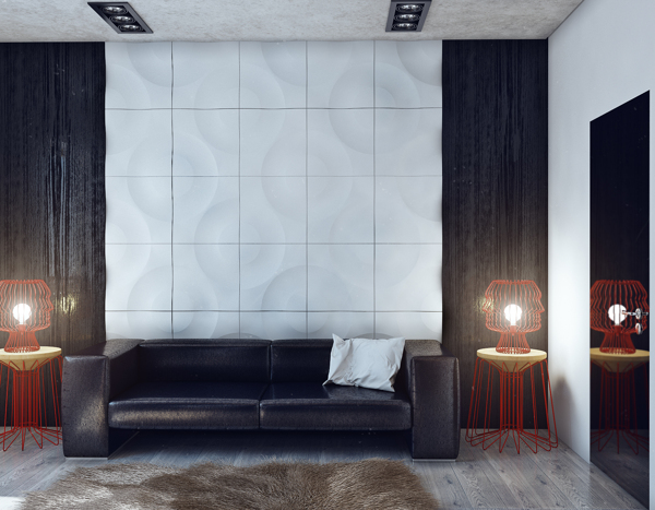 Red accents in a gray, white and black setting
