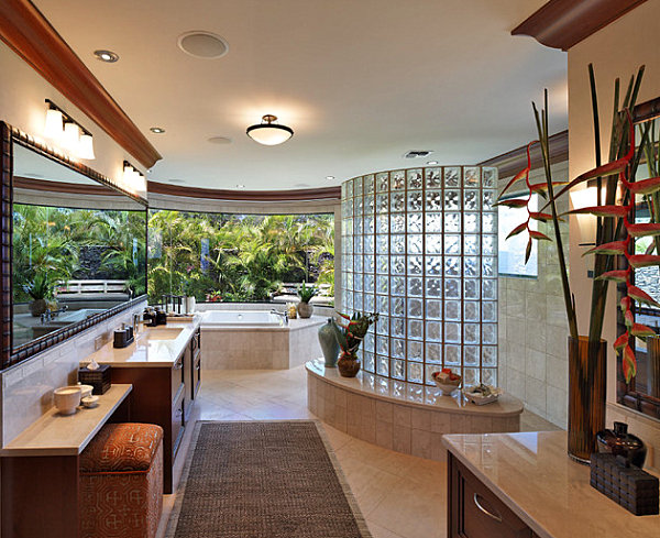Tropical bathroom with glass block