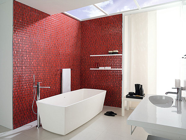 Vibrant red wall in a modern bathroom