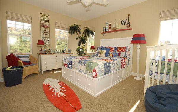 Boys' bedroom with surfboard rug!