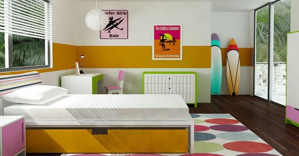 Bright surfboards add to the color scheme in the room