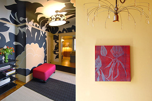 Hand-painted wall mural in a crisp interior