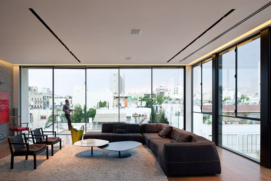 Interiors offer unabated views of Tel Aviv