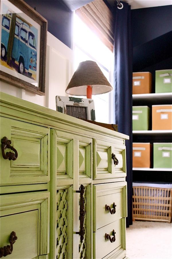 Lime green dresser with bronze handles