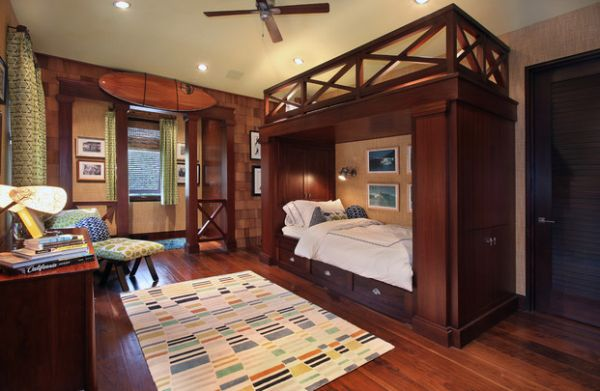 Space conscious bedroom with wooden hues
