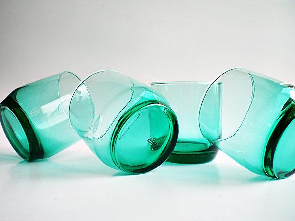 Vintage teal drinking glasses