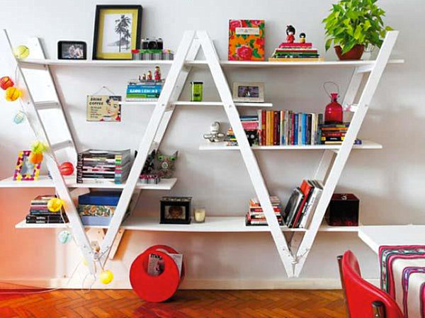 Bookshelf made from ladders