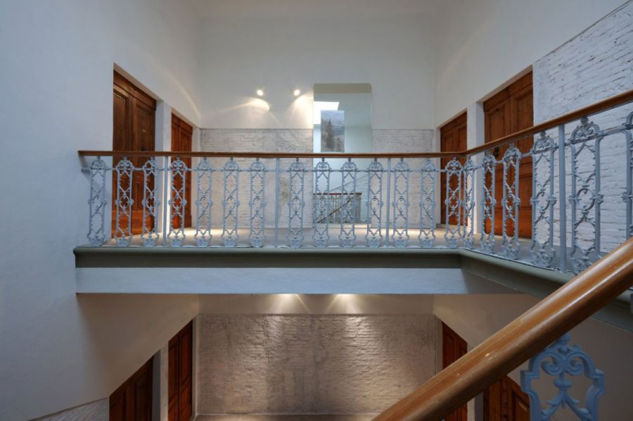 Classic staircase leading to the top level
