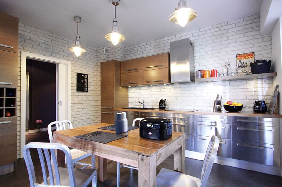 Exposed brick wall in the kitchen