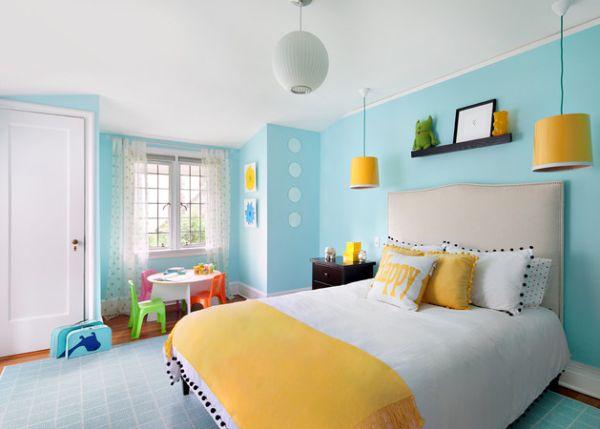 Kids' bedroom with refreshing yellow pendant lights