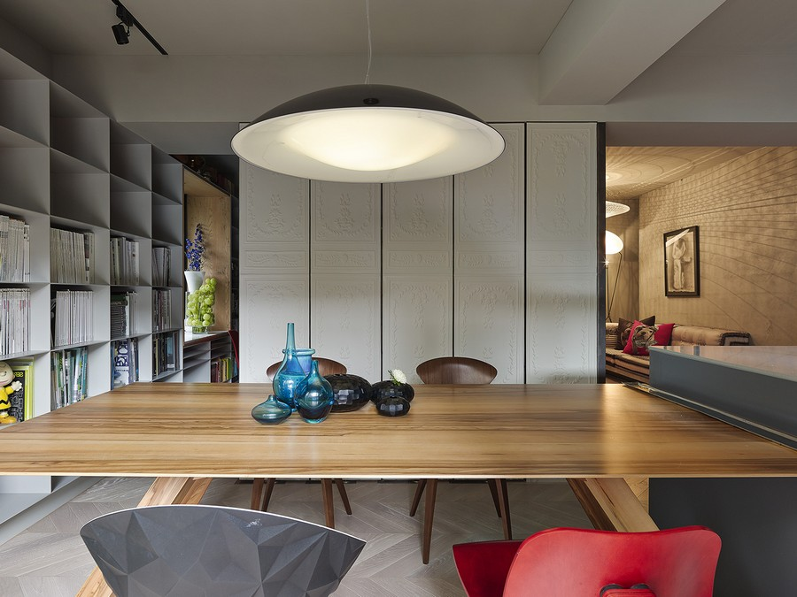Large pendant light above the dining space