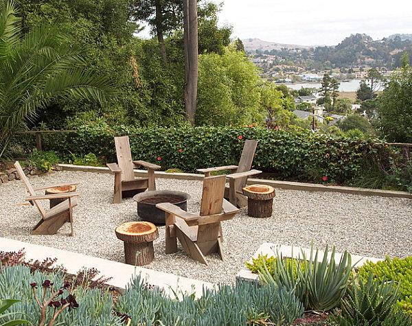 Modern wooden chairs in a succulent garden
