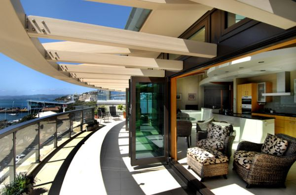 Penthouse porch with a custom-designed ingenious pergola