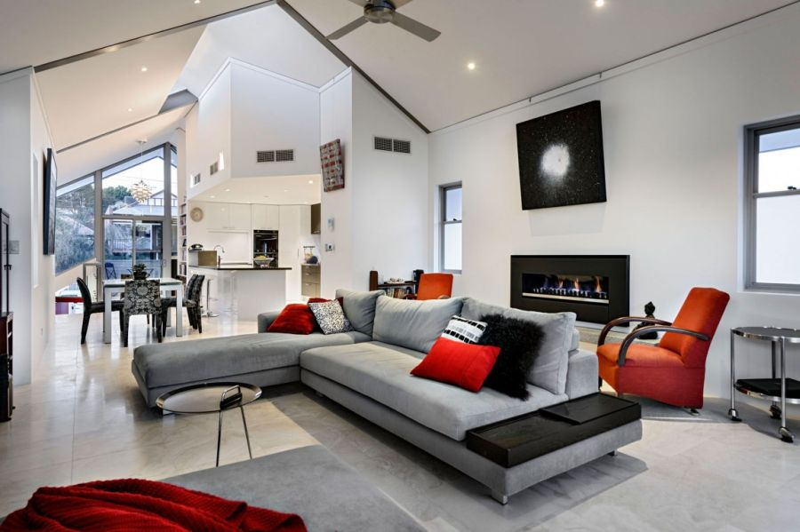 Plush sectional couch in gray