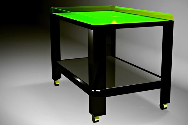 Bar cart with a neon green top