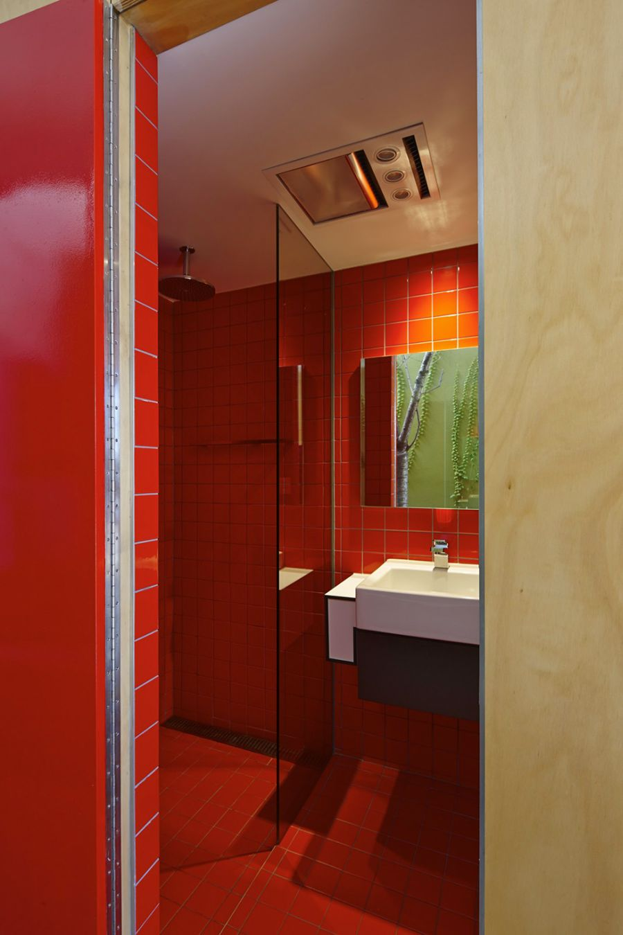 Bathroom with red tiles