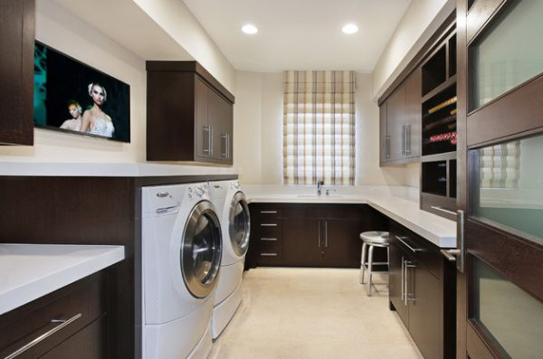 Dark wall cabinets and shelving in the laundry room