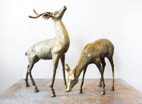 Large vintage brass deer