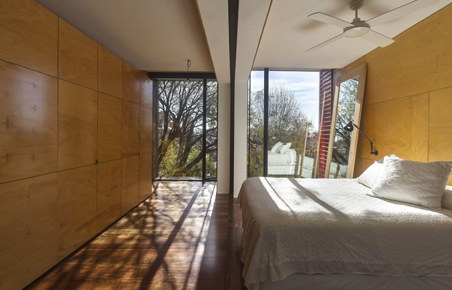 Modern bedroom with a view